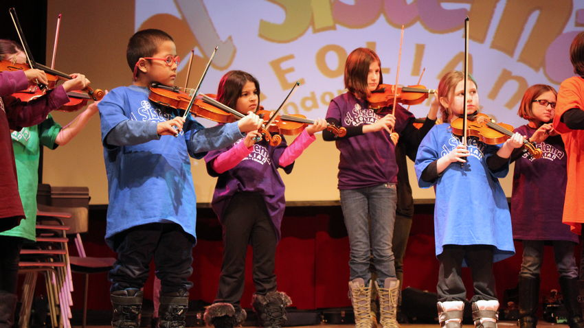 El Sistema at Aeolian Hall, London Ontario. Young musicians. A photo.